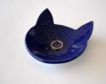 Meow - cat ring dish - gold dotted star detail - blue ceramic jewelry dish plate - wedding ring bearer holder