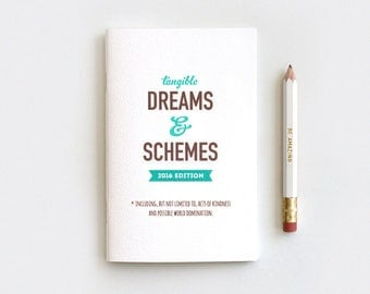 Graduation Gift, Notebook & Pencil Set, Funny - Tangible Dreams and Schemes 2017 Planner Book, 80 Pages, Choose Color and Size