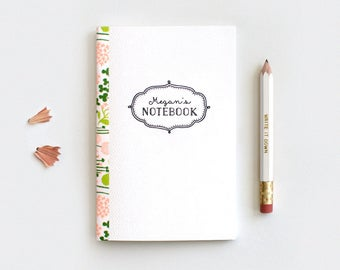 Personalized Floral Notebook & Pencil Set, Mini Large or Midori, Gift for Teachers - 3 Patterns - Customized Gift