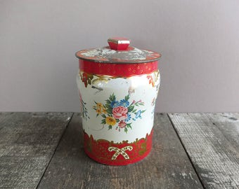 Vintage Red & White Floral English Toffee Tin / Storage Tin / Vintage Toffee Tin