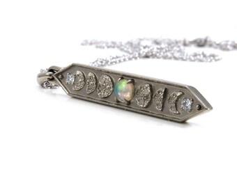Opal Moon Phase Bar Necklace with Diamonds - 14k Palladium White Gold