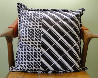Black and White Graphic Vintage  Fabric 18x18 Pillow Cover