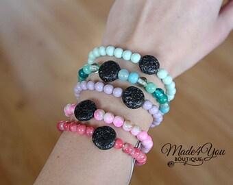 Summer Pastel Diffuser Bracelet - Essential Oil Bracelet - Healing Bracelet