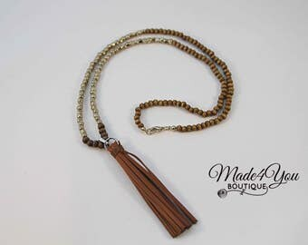 Brown Tassel Necklace - Wood Bead Tassel Necklace