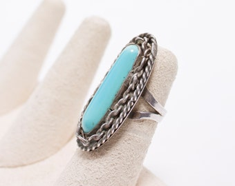 Vintage 60s Ring - Sterling Silver & Turquoise Southwest Native Jewelry 925 Sz 5