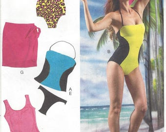 Womens One or Two Piece Swimsuits and Cover-up Tank Style Swimsuits OOP McCalls Sewing Pattern M6759 Size 6 8 10 12 14 Bust 30 1/2 to 36 FF