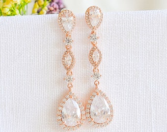 Rose Gold Wedding Earrings, Bridal Earrings, Dangle Drop Earrings, Teardrop Marquise Earrings, Vintage Style Bridal Wedding Jewelry,VICTORIA