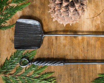 Fireplace Shovel, Rustic Hearth Tools, Deep Woods Fireplace Tools, Wood Stove, Fire Place Camp Fire,  Wrought Iron Blacksmith, Heirloom