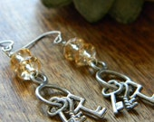 Skeleton key earrings topaz faceted glass key jewelry unique earrings gift for her beaded jewelry beaded earrings