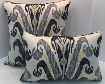Charcoal Grey Ikat Decorative Pillow Cover in Quarry