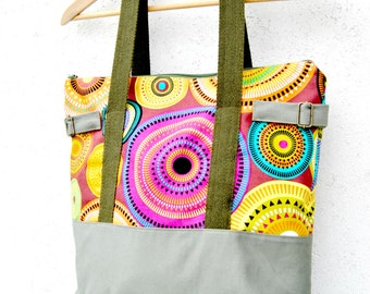 Canvas Tote Bag purse, Zipper tote fabric for beach, school or travel. Army green and colorful canvas zip tote for her with rope handles