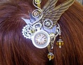 Fascinator (F618),  Clockwork Design, Brass Wings and Gears, Mini Faux Pocket Watch, Swarovski Crystals and Dangles, Bronze Clockface