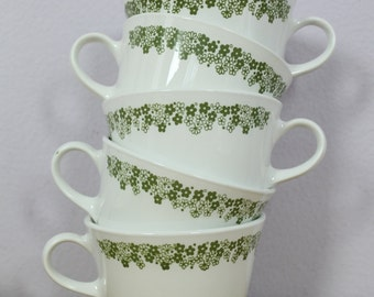 Vintage 1970's Corelle Crazy Daisy Green Flower Mugs 5