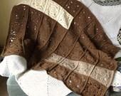 Pure Wool Blanket Throw Dark Brown White Beige British Breed Wool Manx Loaghtan Portland Castlemilk Moorit Modern Design Crochet Afghan