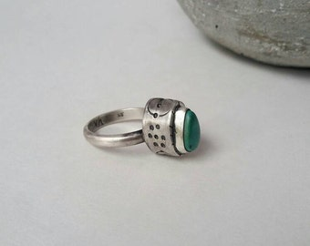 The Waterlogged Series: Handmade Sterling Hollow-form Fox Turquoise Ring, Turquoise Statement Ring