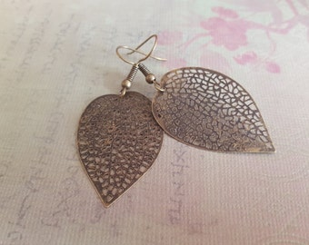 Skeleton Leaf Earrings - Lightweight Antiqued Bronze Filigree Leaf Charm, Gift for Her