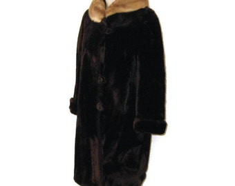 50s Mouton Coat with Fur Collar Sheared Lamb Coat Brown Fur Coat 1950s Fur Dress Coat Brown Winter Coat Winter Dress Coat Made in Canada