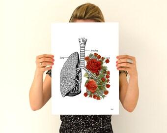 Human Lungs  with roses Human Anatomy wall art print Anatomical art prints, wall art gifts for doctor wall decor art SKA064WA3