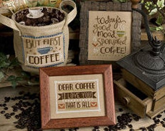 NEW Coffee Time cross stitch patterns by Lizzie Kate at thecottageneedle.com java morning routine kitchen decor