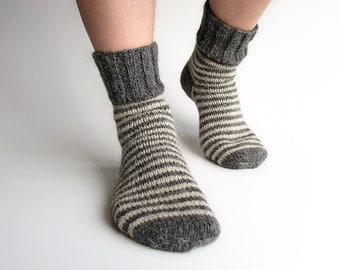 Wool Socks - EU Size 38-39 - Hand Knitted Striped Socks - 100% Natural Wool - Warm Woolen Clothing