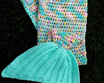Mermaid Tail, Toddler to 4T, Mermaid Tail Blanket, Mermaid Tail Blankies, Three Strands of Yarn, Crochet, Pastel Rainbow, Light Teal Fin