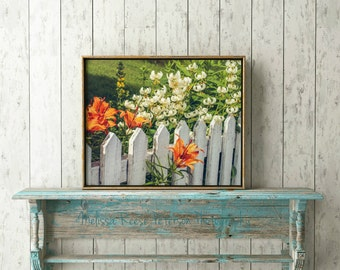 White Picket Fence, Travel Photography, 8x10 + More, Prints, Orange Flowers, Green Grass, Nature Home Decor, Flower Wall Art, Norway