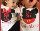 Big Sis and LiL Bro Onesie,Big Bro and Lil Sis,Choice of any Disney Mickey or Minnie Combination,New Baby Bro or Sis,Disney Baby Shower Gift
