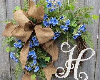 Hydrangea Wreath for Spring and Summer, Summer wreath with monogram, Spring wreath with letter, Grapevine wreath, Linen wreath, Horn's