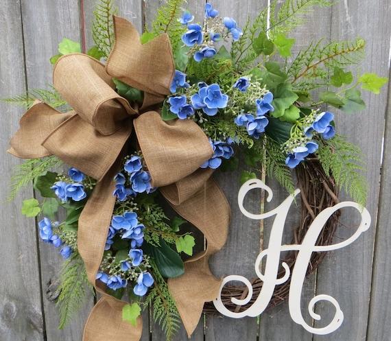 Hydrangea Wreath for Spring and Summer, Summer wreath with monogram, Spring wreath with letter, Grapevine wreath, Linen wreath, Horn's
