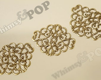 10 - Antique Bronze Stamping Connector Filligree Blank, Filigree Blank, 37mm x 30mm (6-5A)