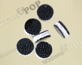 10 - Chocolate Sandwich Cookie Kawaii Decoden Resin Flatback Cabochons , Cookie Cabochon, Dollhouse Miniatures, 14mm (R6-009)