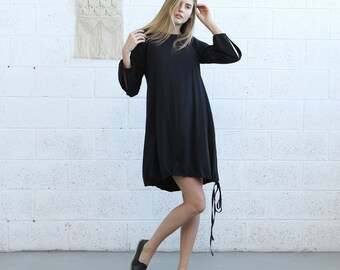 Mix Rib Midi Dress,Black.