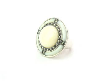 Disc Ring. Modern Marcasite White Stone Ring. Sterling Silver. Large Cabochon. Signed MARC & Crown. Vintage 1980's Statement Fashion Jewelry