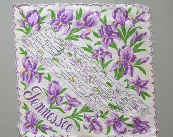 Vintage State Tennessee Handkerchief - Map States White Purple Iris Hankie Hanky Hankercheif Scalloped Edge 50s Collectible Souvenir