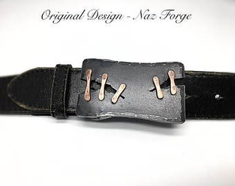 METAL BELT BUCKLE Copper Stitched by Blacksmith -  Hand Forged by Naz - Steampunk Distressed Custom Buckle - Original Unique Wearable Art