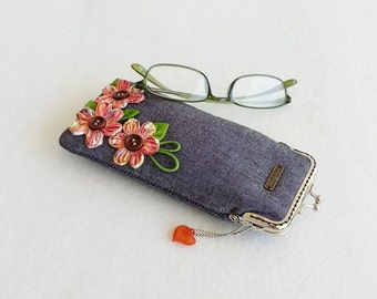 Beautiful Gray Glasses Case, Eyeglass Case, Spectacle Case, Metal Frame Purse