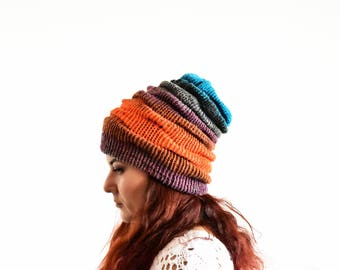 Slouchy beanie hat, orange purple turquiose slouchy winter hat, wool hat, clouch hat, slouch beanie woman, knit slouchy hat, knit beanie hat