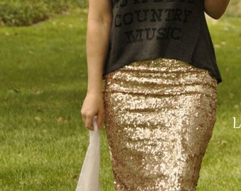 NEW! Matte Champagne Pencil Sequin Skirt - Stretchy, beautiful knee length skirt (S,M,L,XL) Made in LA!