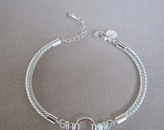 Silver Diagonal Twisted  Adjustable Cuff with Circular Buckle Center
