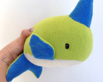 Innis the Narwhal, plush narwhal, plush whale, stuffed narwhal, organic, organic narwhal, organic stuffed animal, stuffed animal, narwhal
