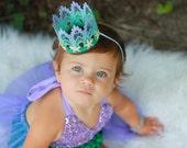 Mermaid Starfish || ombre lavender mint aqua || silver or gold starfish || MINI lace crown headband|| photo prop || WASHABLE