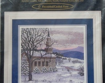 Cross My Heart | CHURCH IN The SNOW | Counted Cross Stitch Kit