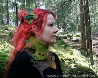 "Enchanted ""Leaves"" hair clip OOAK felt (made on order)"