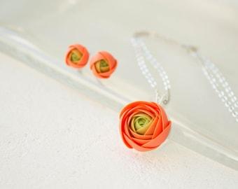 Orange Green Stud Earrings Pendant Set Polymer Clay Flower Floral ranunculus Rose Hypoallergenic Handmade Wedding Bridal Birthday Gifts