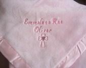 Baby Girl Baby Gift Blanket  Baptism Gift Blanket Blush Monogrammed Blanket Baptism Blanket Christening Gift Blanket Baby Dedication Gift