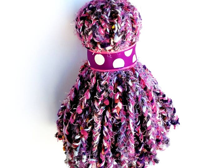 Giant Over Sized Braided Yarn Tassel in Pink and Purple with Polka Dot Grosgrain Ribbon Accent