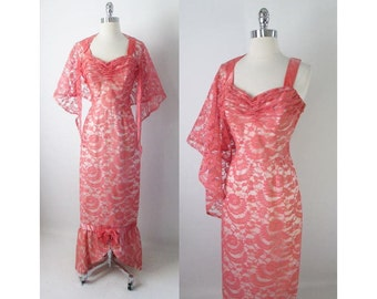 40's Flamingo Pink Lace Bombshell Mermaid Hem Evening Party Dress Gown S