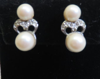 Double Pearl Screw Back Earrings, Vintage, Rhinestone Accent