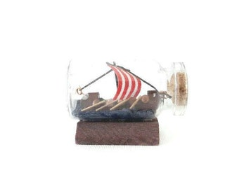 Vintage Viking Boat Ship in a Bottle Small Size