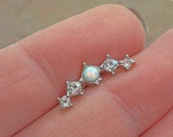 Ear Climber Earring White Fire Opal Stud Cartilage Earring Piercing 16g